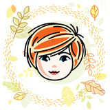 Cute girls face, human head. Vector redhead character, smiling  Royalty Free Stock Images