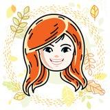 Cute girls face, human head. Vector redhead character, smiling  Stock Photos