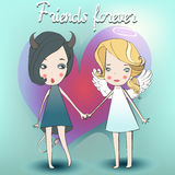 Cute girls in fancy costume. Of аngel and demon vector illustration