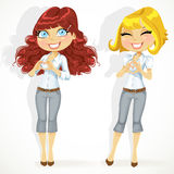 Cute girls folded heart out of the hands Royalty Free Stock Photos