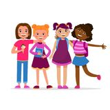 Cute girls having fun standing together vector cartoon characters isolated on white background. School Girl friendship stock illustration