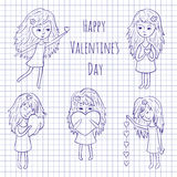 Cute girls with hearts Royalty Free Stock Images