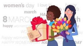 Cute Girls Holding Gift Box And Bouquet Of Flowers Over Happy Women Day Background Creative Greeting Card 8 March. Holiday Flat Vector Illustration Royalty Free Stock Photo