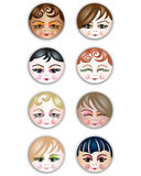 Cute Girls Icons. Girls of different cultures. Cute smiling feminine face icons / buttons Royalty Free Stock Photography