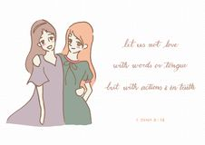 Cute girls illustration by hand drawing with Christian bible verse calligraphy in 1 John 3:18 let us not love with words or speech Stock Photography