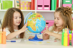 Cute girls  on lesson Royalty Free Stock Images