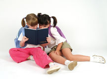 Cute girls with notebook. Cute school girls with notebook over white Stock Images