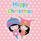 Cute girls on polka dot background  cartoon, Xmas postcard, wallpaper, and greeting card Royalty Free Stock Images
