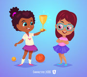 Cute girls with prize. Back to school illustration Stock Images