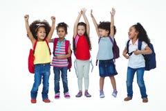 Cute girls raising hands up Stock Photography