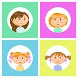 Children Girls with Face Expressions  Set. Cute girls  set vector, kids with smile on face front and side view. Circle frames, children wearing shirts, having vector illustration