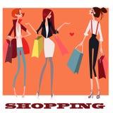 Cute girls with shopping bags. Cute cartoon girls with shopping bags royalty free illustration