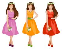 Cute girls in spring or summer fashion dress. stock illustration