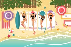 Cute girls sunbathing on beach Stock Images