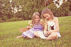 Cute girls in sundresses, holding kitty cats Royalty Free Stock Photography