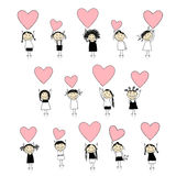 Cute girls with valentine hearts for your design. Vector illustration Stock Image