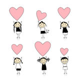 Cute girls with valentine hearts for your design Stock Images