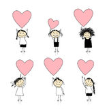 Cute girls with valentine hearts for your design. Vector Royalty Free Stock Photography