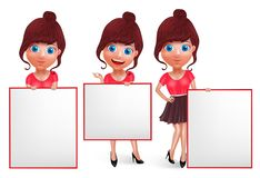 Cute girls vector character set. Fashion woman holding white board vector illustration