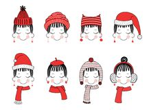 Cute girls in warm hats. Set of hand drawn cute funny smiling girl faces in different warm hats, earmuffs, mufflers. Isolated objects on white background. Vector Royalty Free Stock Photography