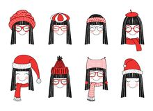 Cute girls in warm hats. Set of hand drawn cute funny smiling girl faces in different warm hats, glasses, mufflers. Isolated objects on white background. Vector Stock Photography