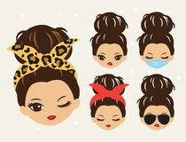 Free Cute Girls With Messy Bun And Bandana Hairstyle Vector Stock Photo - 202757950