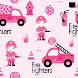 Cute girly firefighters. Girly firefighters cute pink seamless pattern with fire related icons specially for fabric patterns Royalty Free Stock Photos