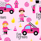 Cute girly firefighters. Girly firefighters cute pink seamless pattern with fire related icons specially for fabric patterns Stock Photography