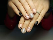 Cute girly nail design stock images