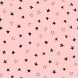 Cute girly seamless pattern with scattered stars. Endless girlish print. Simple vector illustration. Pink and black colours vector illustration