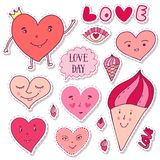 Cute girly Stickers. Cartoon doodle hearts collection. Valentines day funny art. Romantic prints and greeting cards decoration. Cute girly Stickers. Cartoon Royalty Free Stock Photography