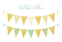 Cute glamour vintage golden glitter bunting flags for your decoration. Can be used as Baby Shower card, Birthday banner, Wedding background, glamour party royalty free illustration