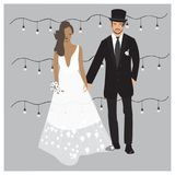 Cute glamour wedding couple Illustration. Bride and Groom isolated in vector. Elegant dresses cartoon illustration stock illustration