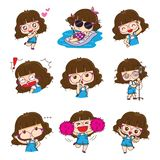 Cute glasses girl character design in different emotions and expressions. vector illustration