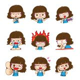 Cute glasses girl character design in different emotions and expressions. royalty free illustration
