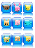 Cute glossy animal icons Stock Photo