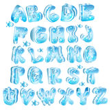 Cute glossy blue alphabet. With drops and fish Stock Photo