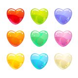 Cute glossy colorful hearts set. Isolated icons on white background Stock Illustration