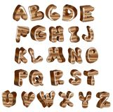 Cute glossy wood alphabet Stock Photos