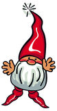 Cute gnome with beard and long red hat on a white background. Stock Photos