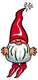 Cute gnome with beard and long red hat on a white background. Royalty Free Stock Photo