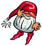 Cute gnome with beard and long red hat on a white background. Royalty Free Stock Photography