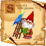 Cute gnome with parrot reading a book royalty free illustration
