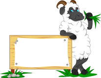 Cute goat cartoon with blank sign Stock Photography