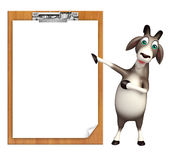 Cute Goat cartoon character with exam pad Stock Image