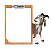 Cute Goat cartoon character with exam pad Royalty Free Stock Photo