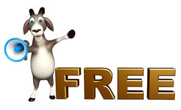 Cute Goat cartoon character with loudspeaker and free sign Stock Images