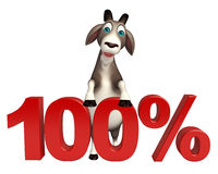 Cute Goat cartoon character with 100% sign vector illustration