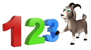 Cute Goat cartoon character with 123 sign Stock Photography