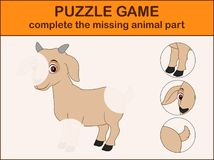 Cute goat cartoon. Complete the puzzle and find the missing parts of the picture. Illustration of Cute goat cartoon. Complete the puzzle and find the missing Royalty Free Stock Photography